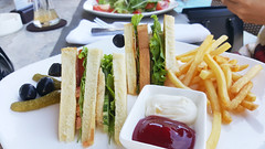 Club sandwich (Roving I) Tags: travel tourism toast lifestyle chips vietnam fries olives dining leisure hotels hospitality sauces danang holidaybeach clubsandwiches beachlibrary ilobsterit