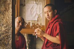Monk Fury (gautam023) Tags: street red people look robe monk monastery angry leh gautam ladakh thiksey monpa pardake