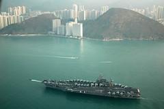 USS Kitty Hawk, 2005 (dbdanielblankenship) Tags: port hongkong aerial na kittyhawk victoriaharbor usskittyhawk cv63