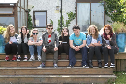 Students chlling at Schull festival