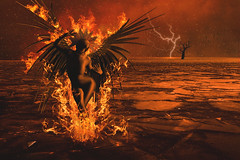 The Phoenix (R. Keith Clontz) Tags: stormy deadtree fantasy lightning stormynight stormysky conceptualart thephoenix deathofthephoenix rkeithclontz burningwings phoenixonfire birdsfleeing