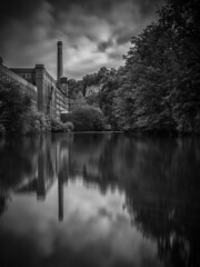 Masson Mill Derbyshire (ANG Imagery) Tags: rural still calm smooth relection tonal buildings texture 10stopfilter river derbyshire matlock blackandwhite monochrome
