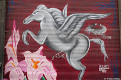 Fertilized by Pegasus (Red Cathedral uses albums) Tags: sonyalpha a77markii a77 mkii eventcoverage alpha sony car sonyslta77ii slt evf translucentmirrortechnology redcathedral graffiti streetart urbanart contemporaryart belgium protest namur flower horse pegasus wings winged penis boner semen sperm fertilize cumshot
