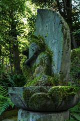 Archaic smile of Buddhist statue  at Tokyo Nezu Museum garden (sapphire_rouge) Tags:   japan tokyo japanesegarment japaneseart nezumuseum aoyama  art  innercity     mossy statue moss sculpture buddha       buddhiststatue  smaile archaic museum shrine temple