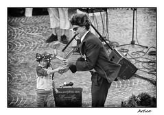 Street artist (Artico7) Tags: streetartist tricesimo friuli italy madamguitar festival child funny baloon dog bow street hair wind nikon d200 bw blackwhite blackandwhite biancoenero monochrome