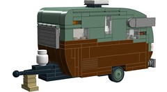 Shasta Caravan in Wagon Queen Family Truckster Livery! (RS 1990) Tags: lego digitaldesigner ldd moc billward design shasta caravan trailer wagonqueen familytruckster colors livery