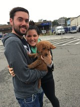 Dazzle and Chewy II's Griffin being picked up at the airport!