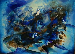 winter (Wolfgang Schweizer) Tags: winter abstractlandscape bluepainting seasons abstractpainting abstractacrylic