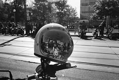 Helmet Selfie (Georgie_grrl) Tags: distinguishedgentlemansride motorcycles bikers riders fundraiser charityride dapper dressedtoimpress friends blackandwhite monochrome andalotofchrome jchstreetpan400 queenstreetwest morningmeetup elalmacen toronto ontario pentaxk1000 rikenon12828mm