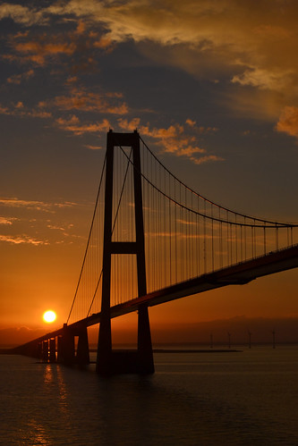 Sunset at the Storebæltsbroen - Great Belt Bridge