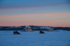Dusk Ride (2016) (VRileyV) Tags: snowmobile snowice greatslavelake frozen frozenlake houseboats house sled sunsetting sunset sky
