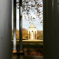 Burdett Coutts Water Fountain, Victoria Park, London (dawudmarsh) Tags: burdettcoutts water waterfountain viewpoint pointofview depth bandstand columns trees branches urbanlandscape park victoriapark fallenleaves autumn cloudysky sky shadows