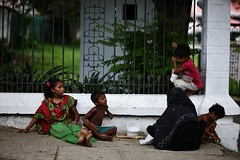 These are the Rohingya refugees (N A Y E E M) Tags: family mother children rohingya refugee ramadan afternoon burqa fence footpath pavement street circuithouse entrance gmroad chittagong bangladesh candid carwindow arakanese