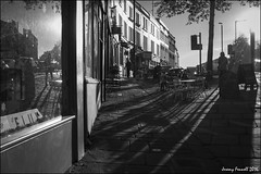Shadows of Colston St (Explored 01/12/2016) (zolaczakl ( 2.5 million views, thanks everyone)) Tags: bristol bristolinmonochrome mono monochrome blackandwhitebristol photographybyjeremyfennell blackandwhite nikond7100 nikonafsnikkor24120mmf4gedvrlens lightshadow shadows november 2016 uk cityscenes colstonstreet shops shopwindow tables chairs