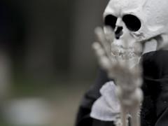 Talk to the Hand (Jam-Gloom) Tags: halloween spooky hallowseve halloweve allhallows olympusomdem5 olympusomd olympusuk 60mm28 60mmmacro28 60mmmacro bokeh bokehful bokehlicious depthoffield dof scary creepy autumn autumnal fall october skeleton skull skele skelly brideandgroom mykindofwedding bride groom hauntingly haunting doll skeletondoll toy