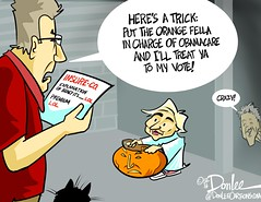 1016 trick or trump cartoon (DSL art and photos) Tags: editorialcartoon donlee election vote hillaryclinton obamacare halloween billclinton