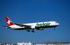 Belair 767  HB-ISE 'Mondo Rondo' (Longreach - Jonathan McDonnell) Tags: lanzarote gcrr arreceife boeing 767 767300 switzerland belair hbise 2000s 2005 scan scanfromaslide 2002 767300er 7673qer 4xeak
