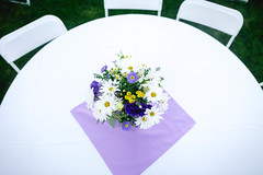 simple decor (KieraJo) Tags: wide angle canonef24mmf14liiusm l lens canon 5d mark 3 iii 5d3 fullframe dslr wedding reception detail shot table from above diy backyard floral flower centerpiece purple yellow white
