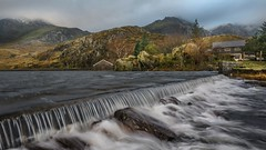 Stormy weather (Einir Wyn Leigh) Tags: landscape mountains ogwenvalley outdoor snow hills snowdonianationalpark wales lake valley beauty light outdoors boathouse nationaltrust gwynedd climate weather winter autumnal trees rugged