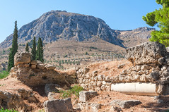 Ruins of ancient Corinth (Ivanov Andrey) Tags: temple archaeology ruins history religion paganism ancientgreece column step stone stairs horizon sky cloud blue god stovetop sand walk journey midday detonation heat sun mountain hill slope peak landscape travel ancientcorinth peloponnese greece