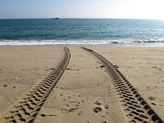 They Went Thataway! (Grumpy O M) Tags: beach sand tracks canonpowershots120 landingcraft sea saltwater