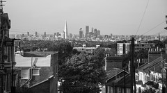London View (Oliver J Davis Photography (ollygringo)) Tags: crystalpalace london city view hill shard cityoflondon gherkin skyline cityscape skyscrapers towers modern old rooftops chimneys architecture bw blackandwhite nikon d90 uk unitedkingdom england stpauls cathedral contrast oldandnew walkietalkie travel europe neighbourhood homes brick urban