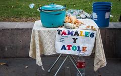 2016 - Mexico - San Luis Potosi - Tamales y Atole (Ted's photos - Returns late December) Tags: 2016 cropped mexico nikon nikond750 nikonfx sanluispotosi tedmcgrath tedsphotos tedsphotosmexico vignetting tamales tamalesyatole cart stand streetscene street sidewalk sidewalkcafe pot lid sign cokebottle oneboatle cocacola pail slp sanluispotosiphotos