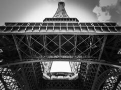 The Eiffel Tower (hobbitbrain) Tags: sky blackandwhite paris france tower monochrome latoureiffel theeiffeltower ladamedefer