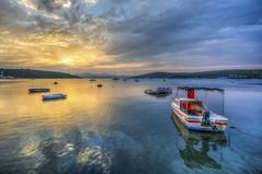 Sunset Colours of Sigacik (Nejdet Duzen) Tags: trip travel sunset holiday reflection turkey boat fishing cloudy trkiye sandal izmir gnbatm tatil yansma turkei seyahat kayk balklk seferihisar bulutlu sack