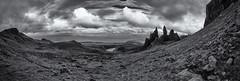 Storr Ridge Panorama (Grant Morris) Tags: blackandwhite bw panorama skye monochrome canon landscape mono scotland isleofskye sigma hillside storr 1735 grantmorris grantmorrisphotography
