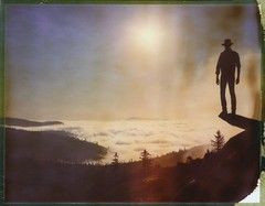 The Wanderer And The Sun (Bastiank80) Tags: film nature polaroid photography outdoor large hike instant format expired 79 lusen roidweek bastiank
