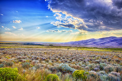 Distant Dunes (Kansas Poetry (Patrick)) Tags: sunset color colorado greatsanddunesnationalpark oilpaintfilter patrickemerson ianemerson patrickiandocolorado
