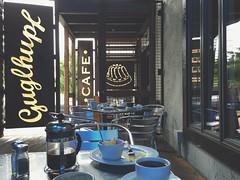 guglhupf (mennyj) Tags: vacation rain mobile breakfast nc cafe durham south northcarolina roadtrip bakery bavarian iphone musli morerain 2015 dirtyplates googlehupf iphone6