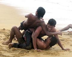 Beach Funfighting (IMG_3717b) (Dennis Candy) Tags: man beach fun coast fight play young srilanka ceylon serendipity bodies wrestle serendib serendip