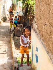Favela Children 2 (D Song) Tags: old city travel blue sunset brazil sky panorama playing mountains streets green church architecture kids buildings children churches panoramic historic cobblestone vista belohorizonte hilly favela ouropreto slums