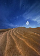 Moon Line (zaid.sp14) Tags: blue sky moon sahara desert bynight saudi arabia arabian riyadh landscap