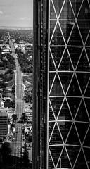 Centre Bow (chrisroach) Tags: road blackandwhite bw calgary monochrome architecture skyscraper blackwhite office downtown bow officetower calgarytower leadinglines bowbuilding