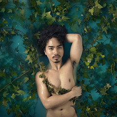 Equilibrium (Rob Woodcox) Tags: blue boy portrait man male green art nature water colors beauty hair nude asian vines model natural skin muscle surreal curly filipino bathtub conceptual robwoodcox robwoodcoxphotography