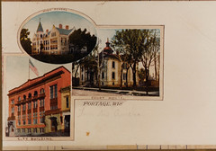Postcard with HS, Courthouse, Armory