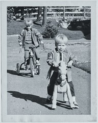 The Suburban Gang (KurtClark) Tags: sherry eric tricycle riding kids blackandwhite family