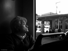 Old ladys view! (Ren Mollet) Tags: lady old view looking tram basel closeup mollet monchrom blackandwhite bw renmollet portrait street streetphotography