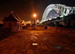 Runcorn Bridge at night (Mark Hemans) Tags: runcorn widnes bridge traffic road building night streetlight streetlamp outdoor nikon d750 nikkor