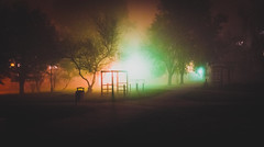 Devil's Playground (marcin baran) Tags: color colour mist misty fog foggy mood moody atmosphere awesome playground empty clash trees shadow silhouette night dark darkness evening gliwice poland polska marcinbaran fuji fujifilm fujix100 x100 x100t street streetphotography urban urbanphotography light contrast pov