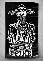 Pike (Steve Taylor (Photography)) Tags: sombrero hat mexican pike tcf 169 bandana bullet belt art graffiti sticker streetart monochrome blackandwhite monotone paper man newzealand nz southisland canterbury christchurch city cbd buckle asbestos aerosol can spray