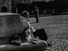 Taking a rest (ralfkai41) Tags: monochrom partner rasten bw outdoor freunde blackwhite haustier schwarzweis friends sw dog partners animal street rest hand