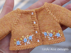 """""""Blue Skies for Pumpkin Picking"""" made for Dianna Effner's Little Darlings. (Cindy Rice Designs) Tags: embroidery knit sweater cardigan beret hat doll effner littledarlings dress pumpkin"""