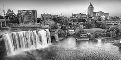 288HighFallsDistrict (wlsonb) Tags: waterfall longexposure bw cityscape urban mono noiretblanc sigma water river