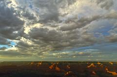 DSC_0855-857 yavapai point sunset hdr 850 (guine) Tags: grandcanyon grandcanyonnationalpark canyon rocks clouds sunset hdr qtpfsgui luminance