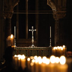 Cross among the candles (N'GOMAPHOTOGRAPHY) Tags: peterborough cathedral nightshoot night candles gothic masonry stonework woodwork carvings stainedglass window jesus cross crucifixion