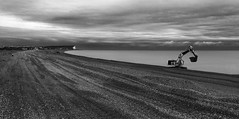 Tide Mills Beach (Andy Hemper) Tags: uk landscape sea outdoor outdoors outside countryside sky clouds beach digger excavator erosion coast monochrome blackandwhite blackwhite tidemills england eastsussex englishchannel seaford moody